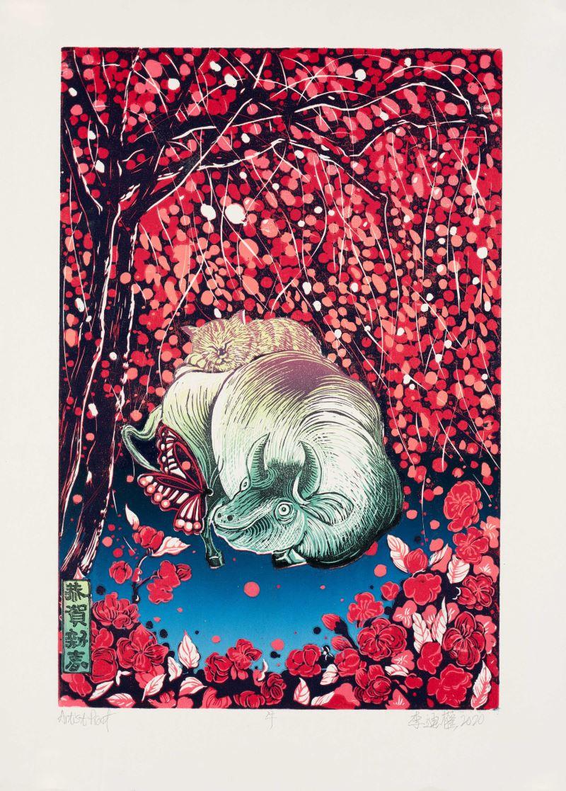首獎_李迪權〈牛〉54.5×39.5cm,AP,凸版版畫