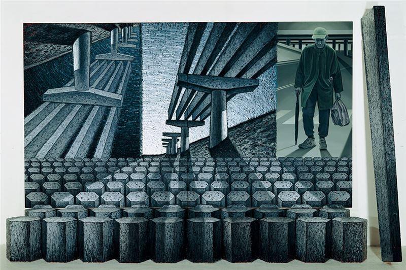陸先銘〈阿公的寓言〉1996  複合媒材  275×450×66 cm