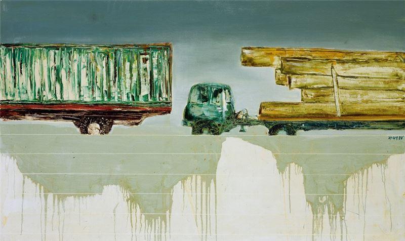 陳水財〈卡車之三〉1980 複合媒材 89×146 cm