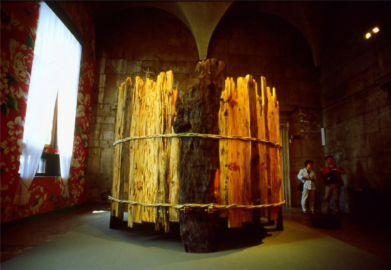 WANG Wen-Chih〈Beyond the Site〉2001 Camphor, Japanese cypress (hinoki) and rattan 350×320×320 cm
