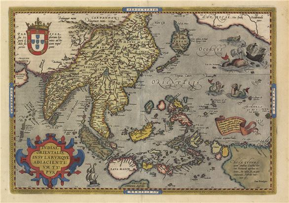 東印度與鄰近諸島圖,約1601年-本圖基本上是跟根據葡萄亞海圖改繪成,16世紀中末葉到17世紀初絕大部份葡萄牙文獻指稱臺灣為小琉球,因此途中被標示在北回歸線以北,面積最大的小琉球指涉的應該即是臺灣的一部份