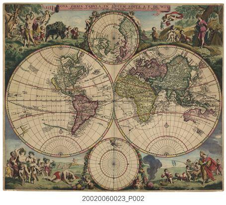 世界地圖,1686-這種東西半球雙球體的世界地圖,在16、17世紀西方頗為流行。圖中以歐亞非舊大陸為東半球、美洲新大陸為西半球。