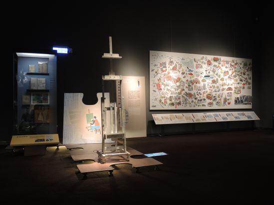 「百花齊放的臺南達人們」單元,運用童趣的彩繪大地圖,描繪出1990年代以後臺南風土繽紛多彩的面貌。