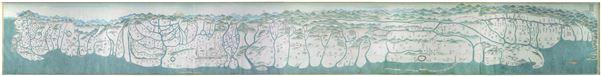 18世紀末御製臺灣原漢界址圖-這幅新發現的地圖的一大特色是在南部鳳山縣沿山自十張犁(約今屏東高樹鄉大埔村一帶)自枋寮間頗清晰的畫出9塊界碑、10處土牛堆、10座隘寮。