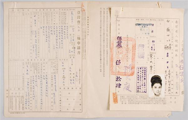 1964年,臺灣省入出境申請書。(本館館藏)