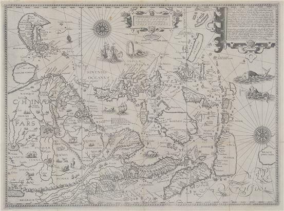 中華領土及海岸線精確海圖,1596-圖中北回歸線經過的小島標示為小琉球(Lequeo pequeno),旁邊畫有福爾摩沙島(I. Fermosa)及一個無名島。這三個相鄰的島,基本上呈現的是臺灣一帶。