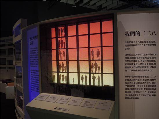 二二八事件「死亡人數」裝置,此裝置表現出從1947年來關於死亡人數的各式報告、說法,此裝置外觀是陳武鎮先生「消失的家人」畫作,在按下按鈕之後,則會顯示出各種死亡人數的落差。