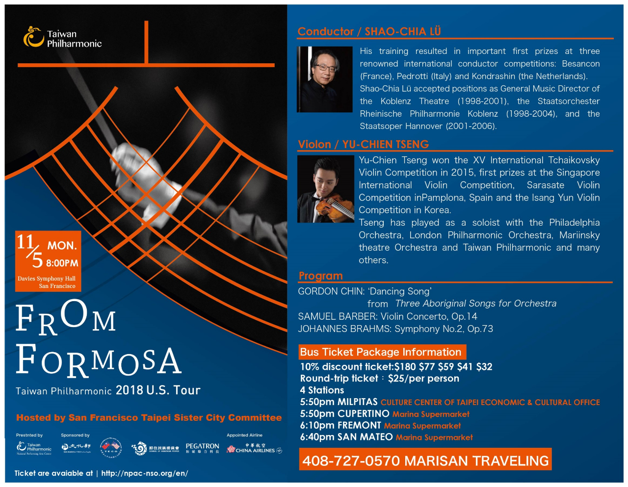 'From Formosa' — Taiwan Philharmonic to tour West Coast