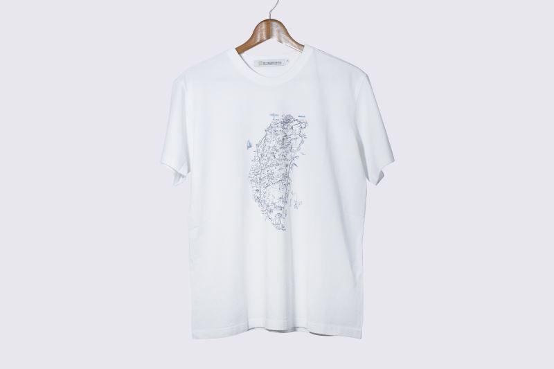 地圖T恤-臺灣案內圖繪(白)-130