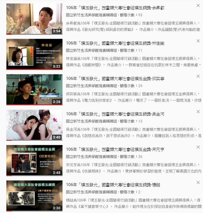 106年璞玉發光-全國藝術行銷活動大專社會組璞玉銅獎以上之6位得獎者影片