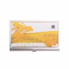 荷花防水油畫布名片盒