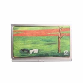 黑白雙馬防水油畫布名片盒