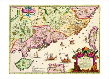 地圖明信片5 -中國福建與廣東省圖