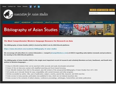 the Bibliography of Asian Studies亞洲研究書目
