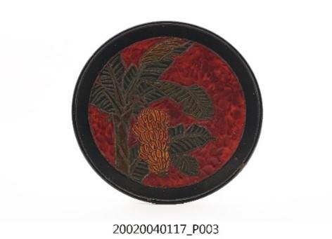 木胎雕刻彩繪磨顯香蕉在欉黃蓬萊塗圓型盤